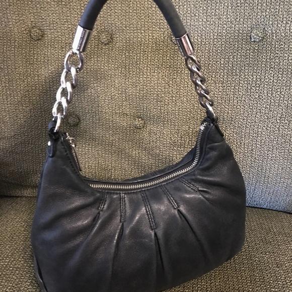 9c6ee09d25e4 M KORS Pleated Black Lamb Leather Chain Hobo. M 5ab5ab8f05f430545e3bd7bc
